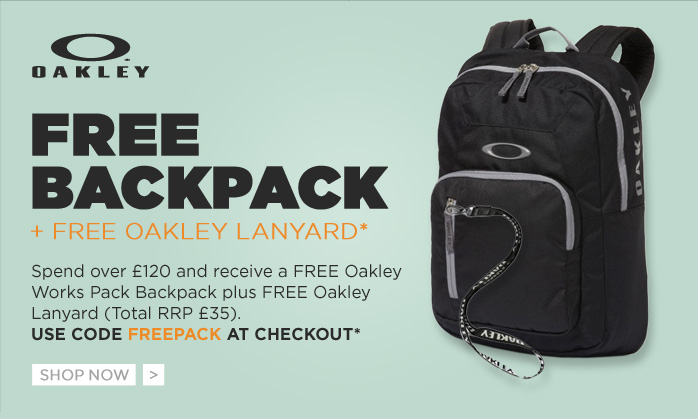 Free backpack and free Oakley Lanyard*