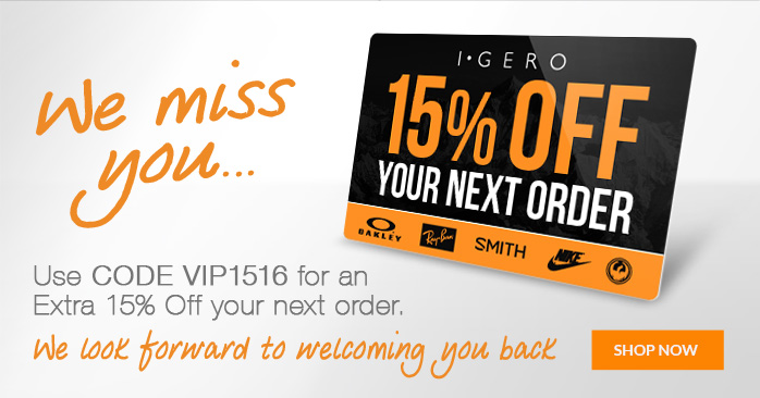 We miss you - 15 percent off your next order
