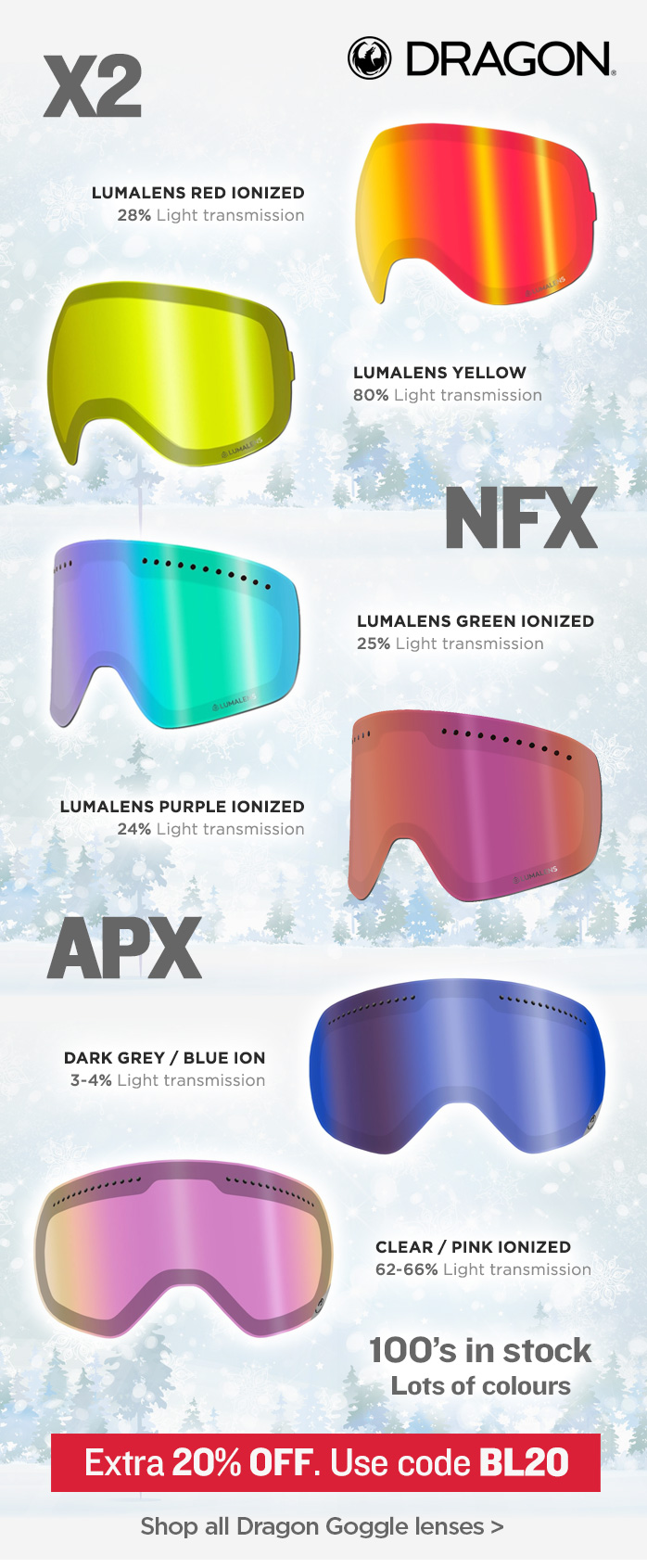 Replacement Dragon Goggle Lenses