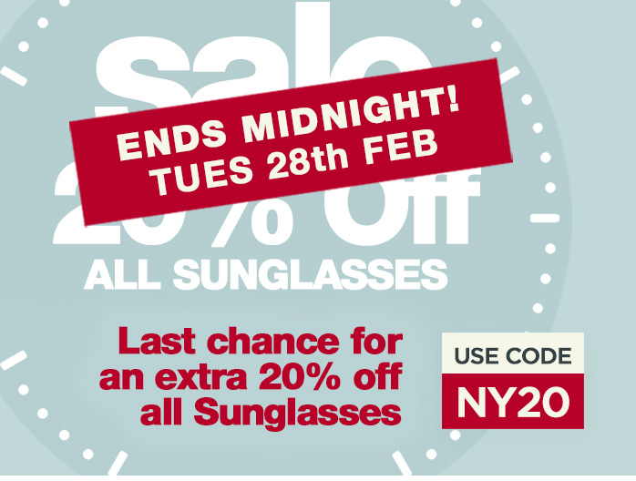 Extra 20 Percent Off all Sunglasses