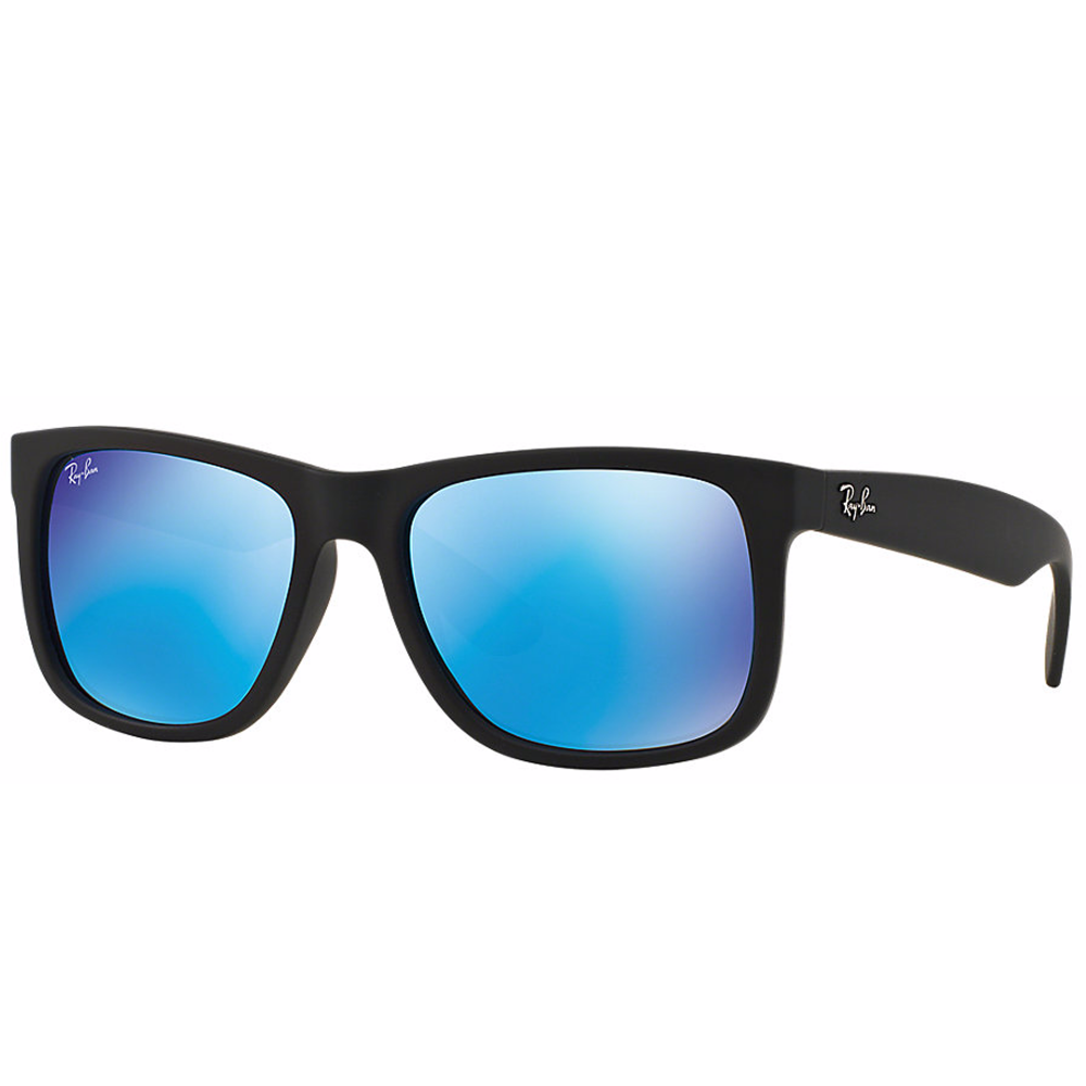 3d4225131b Ray-Ban JUSTIN. Colour Mix Series - Regular 55mm Lens SizeBlack Rubber Blue  Mirror Lens