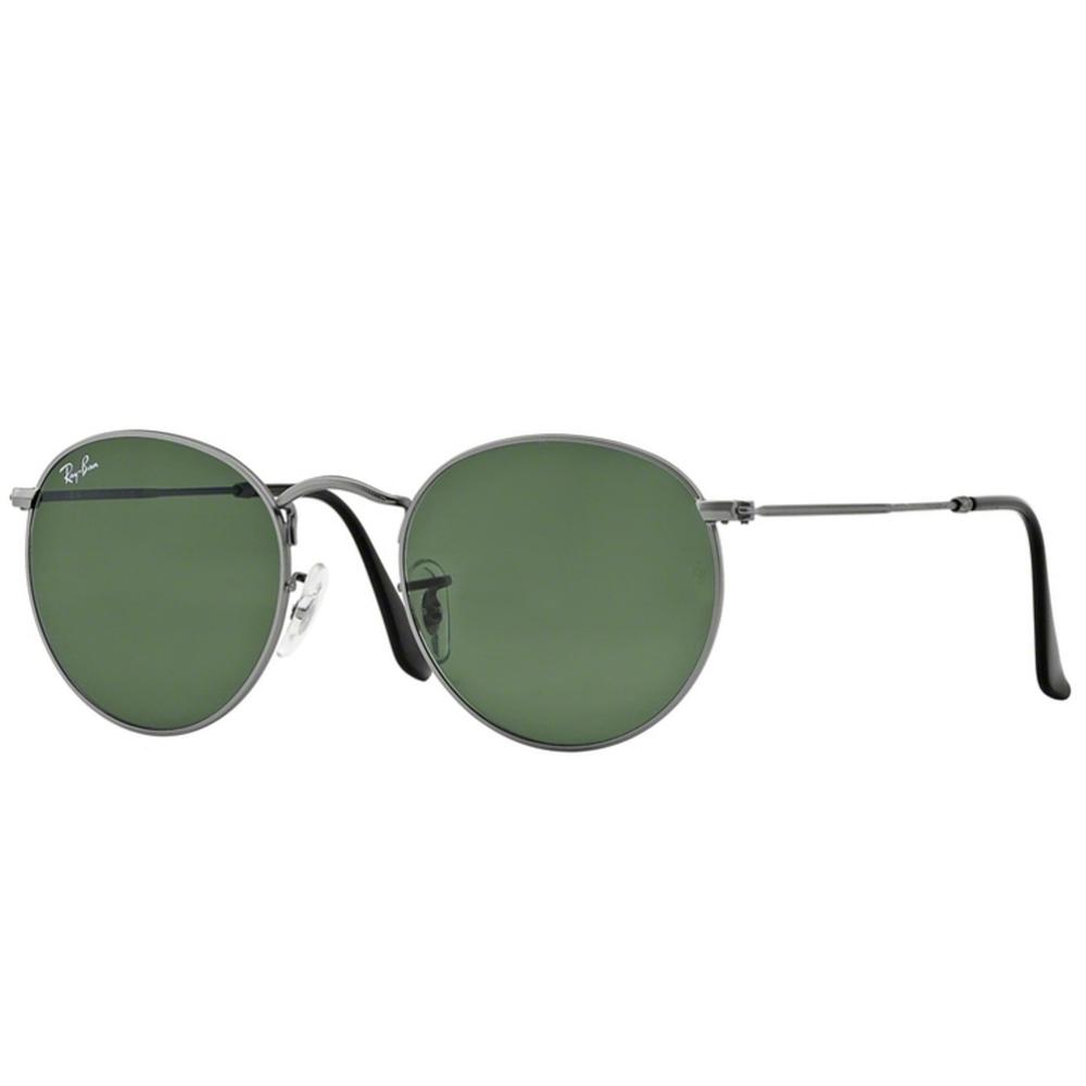 6313f835bdb Ray-Ban Round Metal Sunglasses Matte Gunmetal RB3447 029 Small