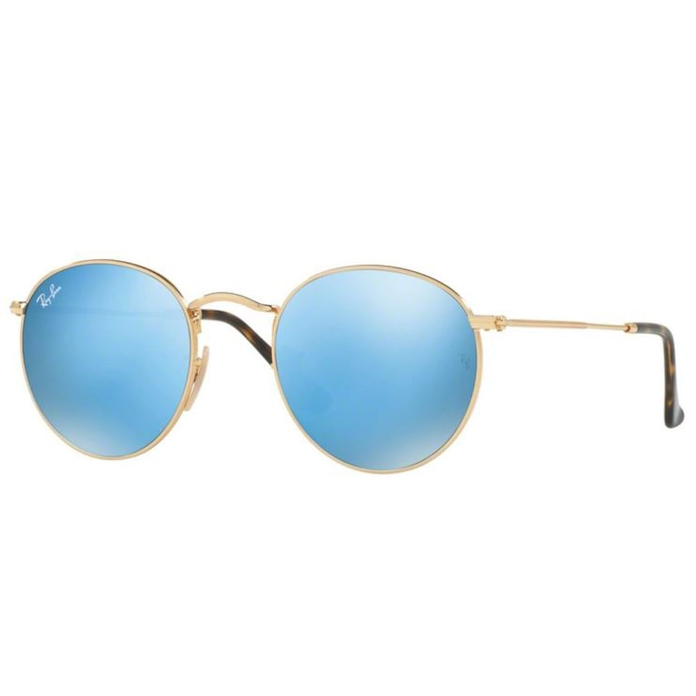 a09df4d337 Ray-Ban Round Flat Sunglasses Shiny Gold RB3447N 001 90 Small