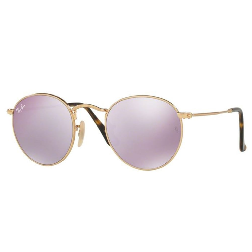 f2ac795276 Ray-Ban Round Flat Sunglasses Shiny Gold RB3447N 001 80 Small