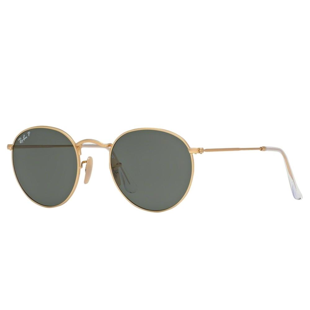 c80bec0f4c Polarized Ray-Ban Round Metal Sunglasses Matte Gold RB3447 112 58