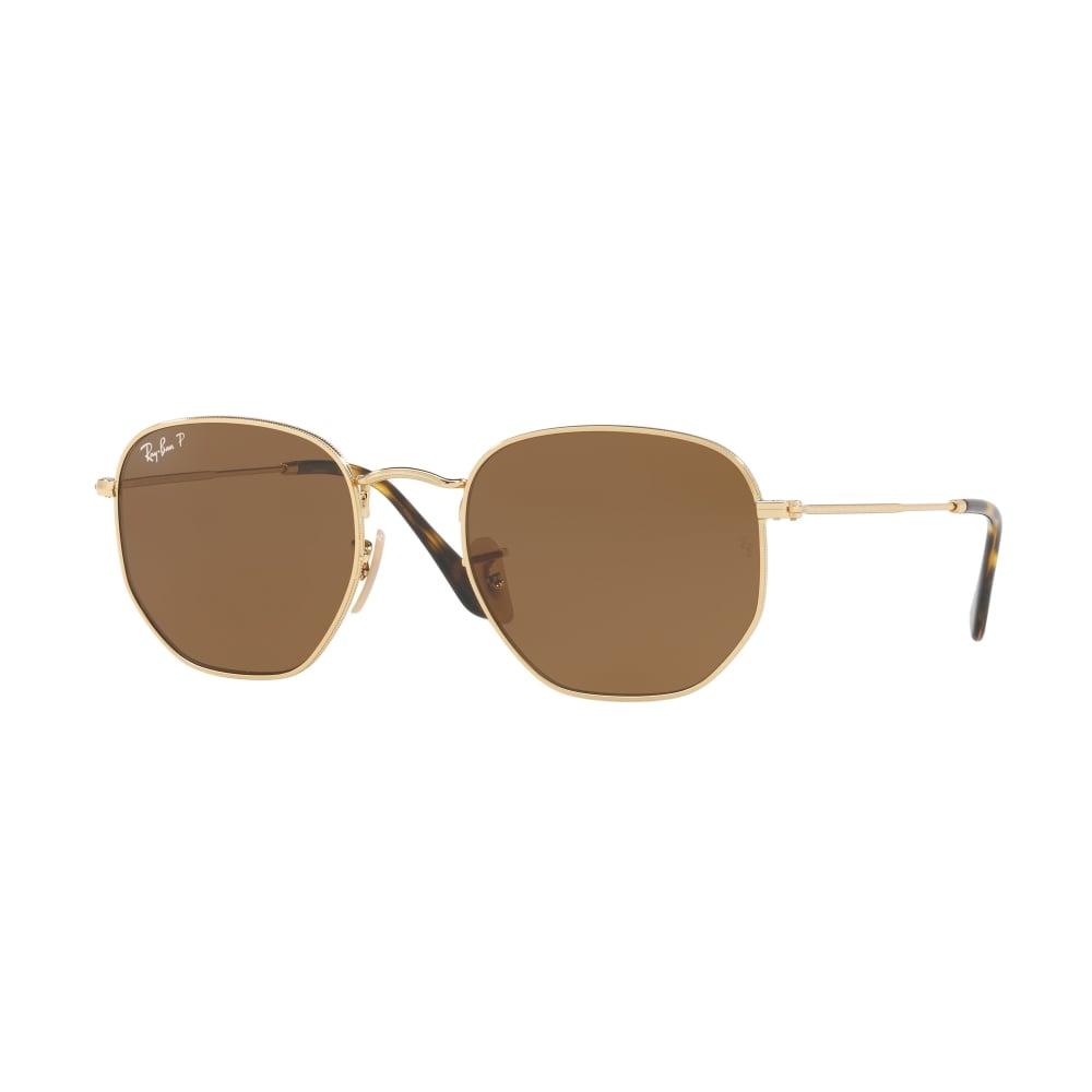 e5f4e55f481 Polarized Ray-Ban Hexagonal Flat Lenses Sunglasses Gold RB3548N 001 57