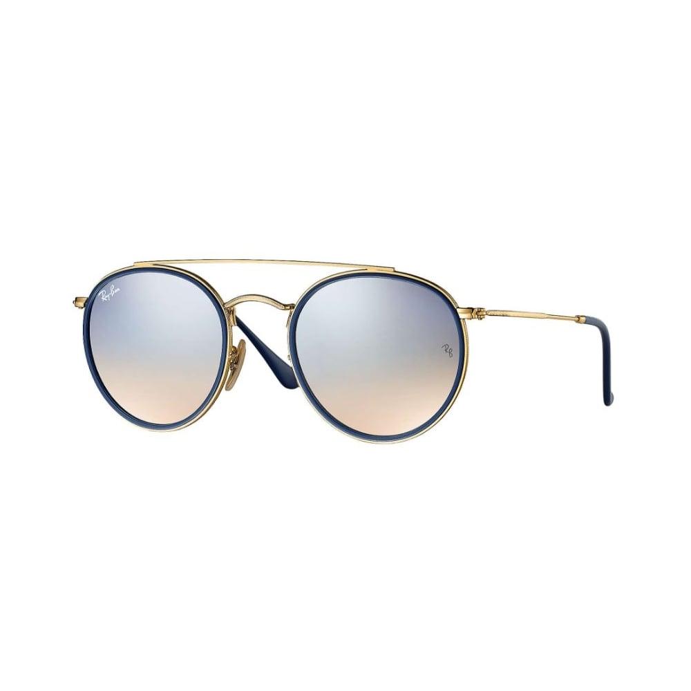 7ae1081df72 Ray-Ban Round Double Bridge Sunglasses Gold RB3647N 001 9U