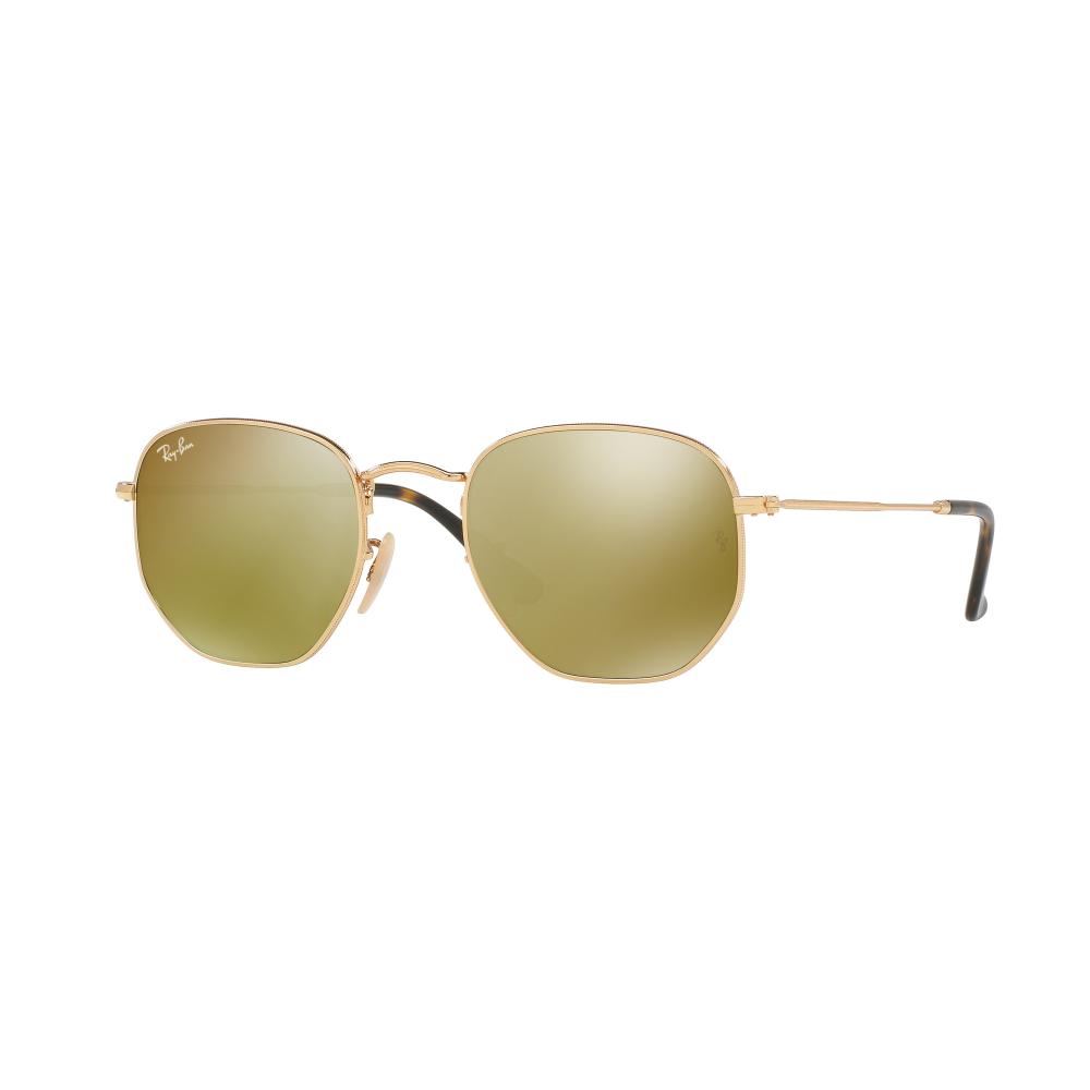 ef3344b95c Ray-Ban Hexagonal Flat Lenses Sunglasses Gold RB3548N 001 93 Small
