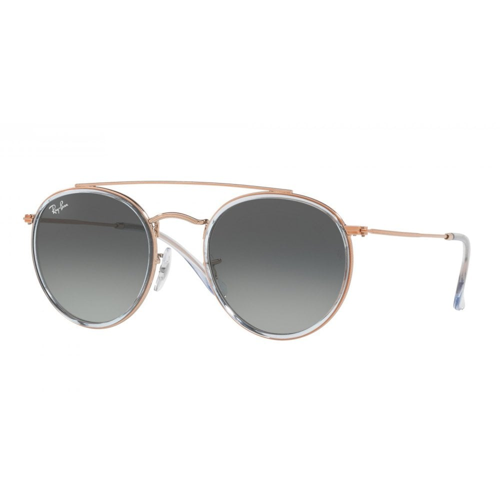 976117ab3f4 Ray-Ban Round Double Bridge Sunglasses Light Blue Bronze-Copper ...