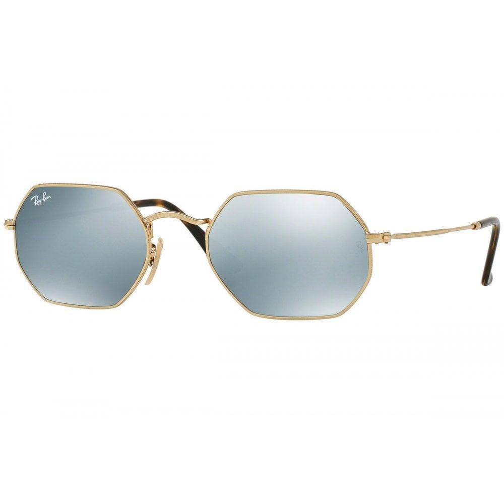 ce4a332901 Ray-Ban Octagonal Flat Lens Sunglasses Gold RB3556N 001 30
