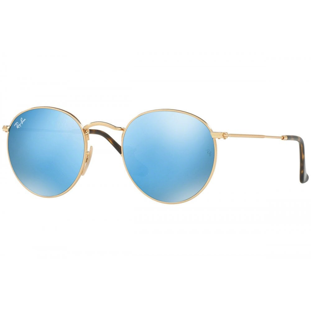 09fe1ca15 Ray-Ban Round Flat Sunglasses Shiny Gold RB3447N 001/90 Small